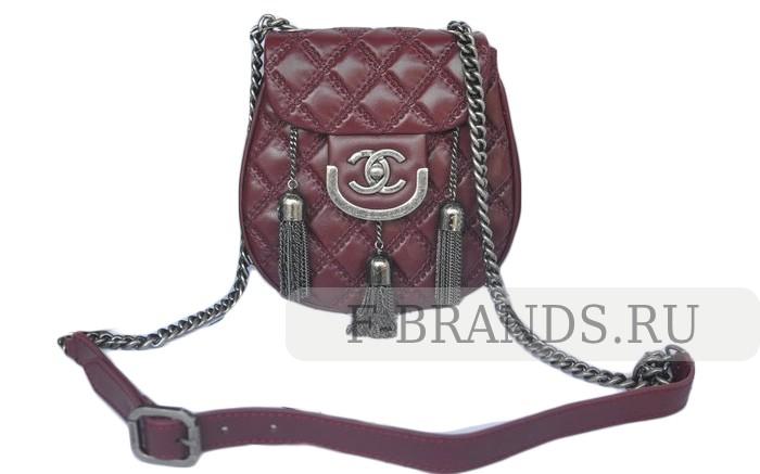 Сумка Chanel Hobo Bag бордовая c серебряной фурнитурой