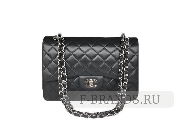 Сумка Chanel Jumbo flap bag черная c серебряной фурнитурой