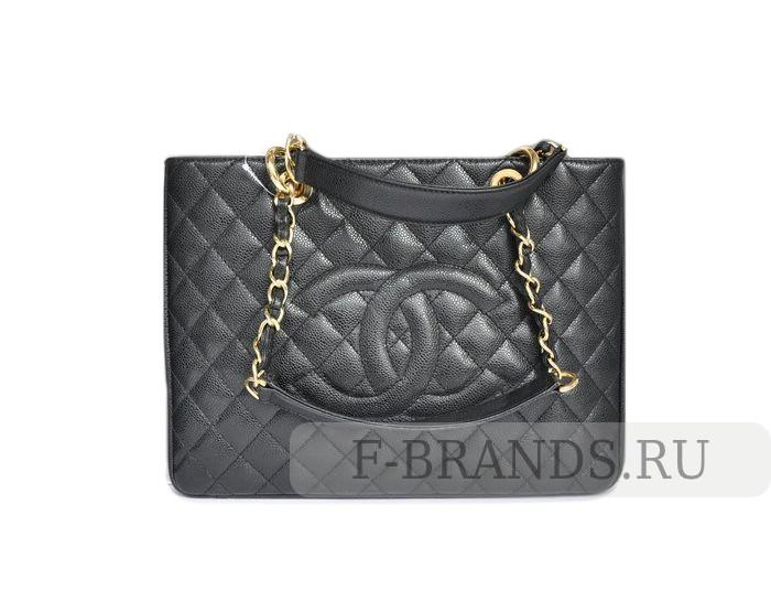 Сумка Chanel Timeless CC Grand Shopping Tote черная c золотой фурнитурой