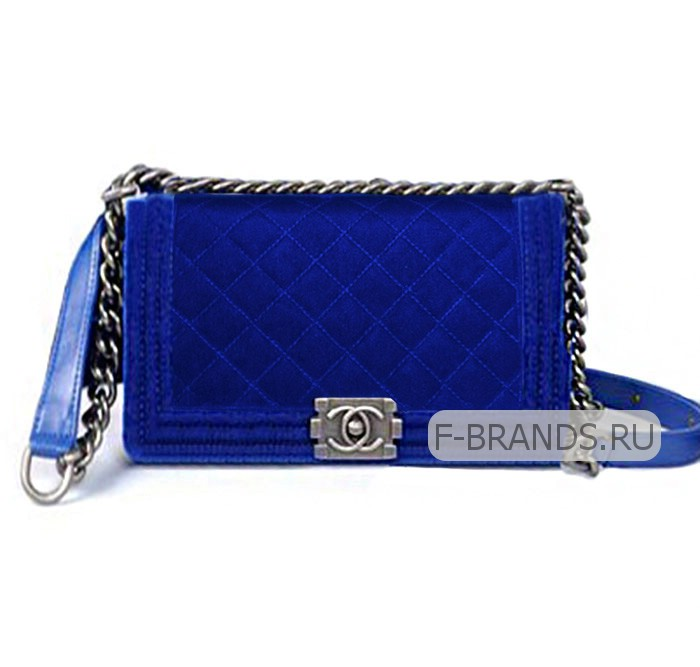 Сумка Chanel Boy Flap Bag 25см синий бархат