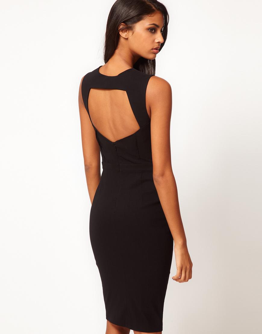 Черное платье с открытой спиной (241544
