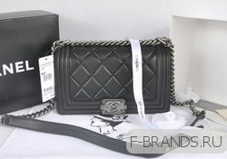 New Boy Flap Bag черная c серебряной фур (Premium качество)