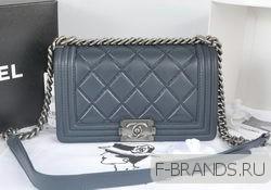 New Boy Flap Bag синяя c серебряной фур (Premium качество)