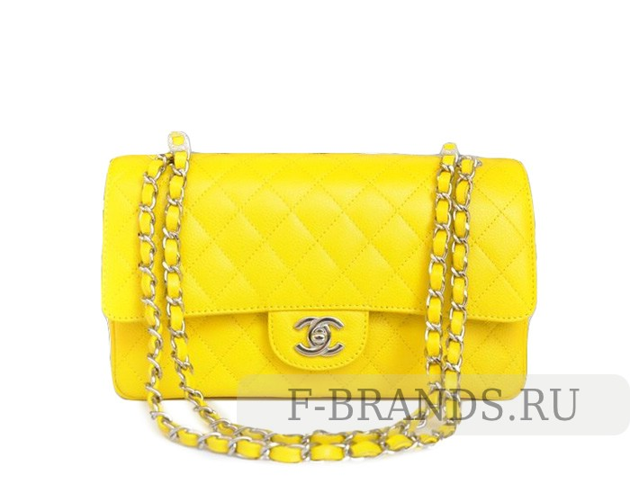 Сумка Chanel Caviar Classic Flap bag желтая c серебряной фур (Premium качество)