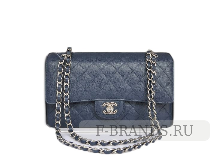 Сумка Chanel Caviar Classic Flap bag синяя c серебряной фур (Premium качество)
