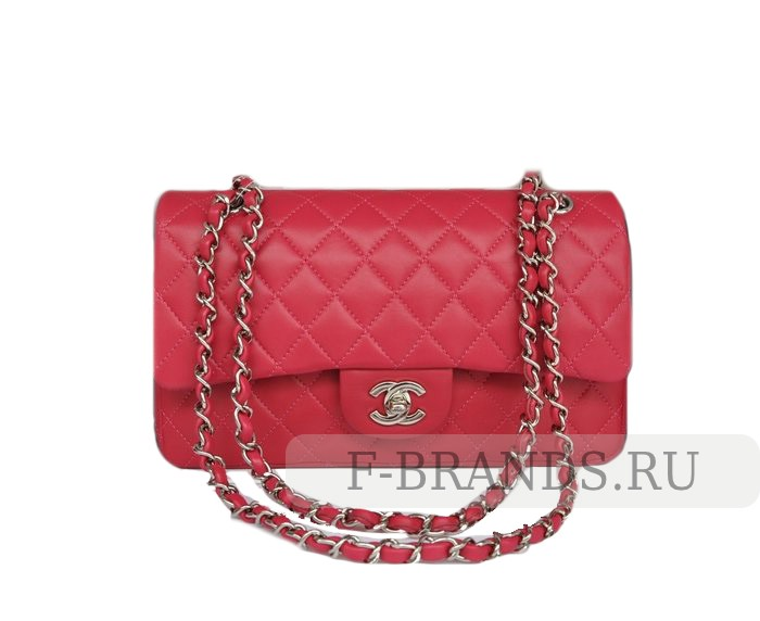 Сумка Chanel Classic Flap bag розовая c серебряной фур (Premium качество)
