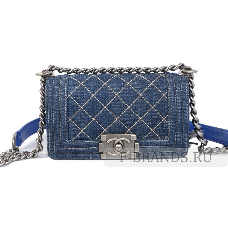 Сумка Chanel Boy Flap bag Синяя джинсовая