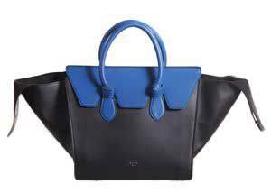 сумка Celine tie tote синяя с черным
