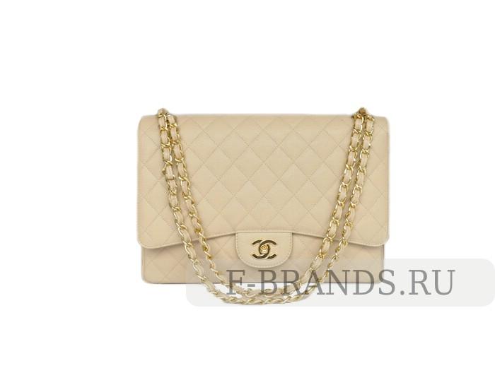 Сумка Chanel Caviar Maxi jumbo Flap bag бежевая c золотой фурнитурой
