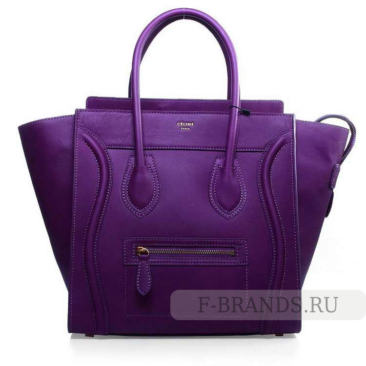 сумка celine luggage фиолетовая