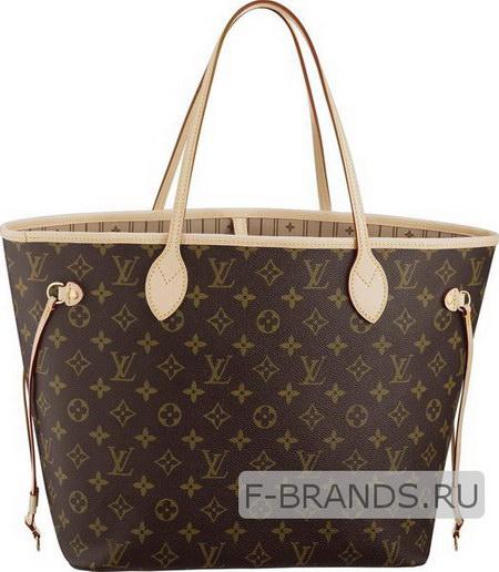 Сумка Louis Vuitton Neverfull коричневая с бежевой окантовкой