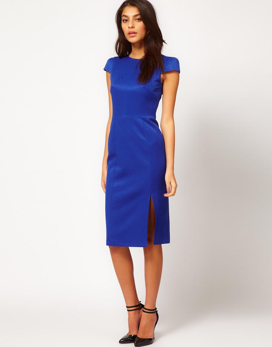 Красивое текстурное синее платье