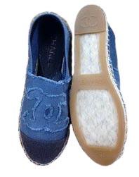 Эспадрильи Chanel синие текстильные